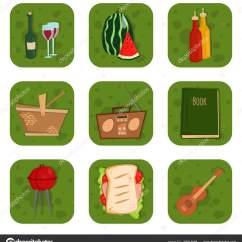 Bbq Kitchen L Shaped Outdoor 烧烤派对产品烧烤烧烤厨房户外家庭时间菜午餐矢量插图 图库矢量图像 图库矢量