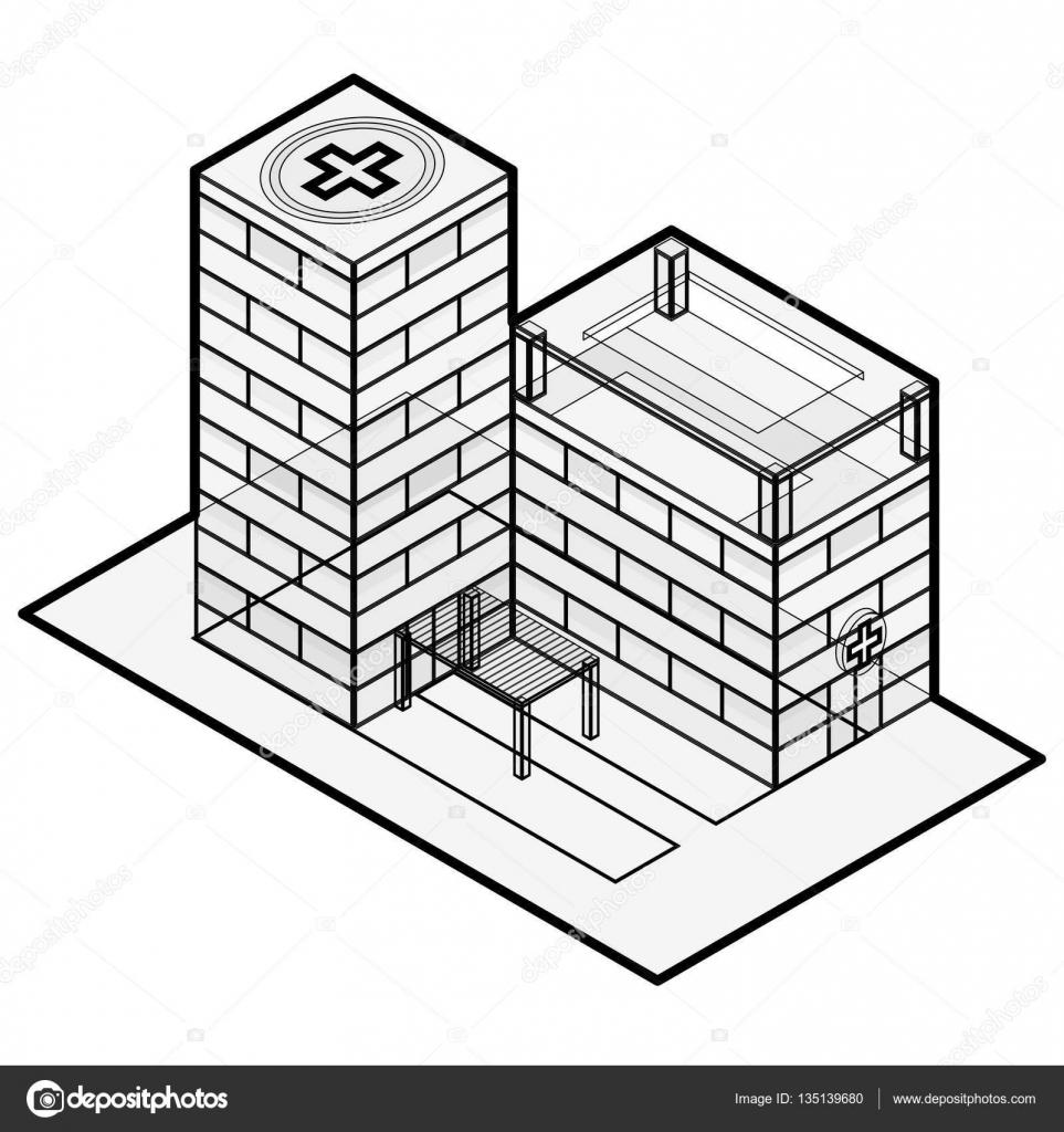 Outlined blue medical isometric building illustration for