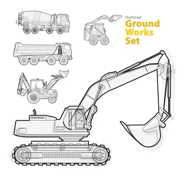 Outline set of construction machinery machines vehicles