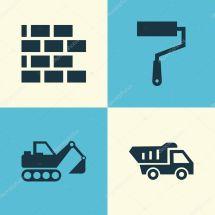 Conjunto De Iconos La Industria. Colecci Camiones