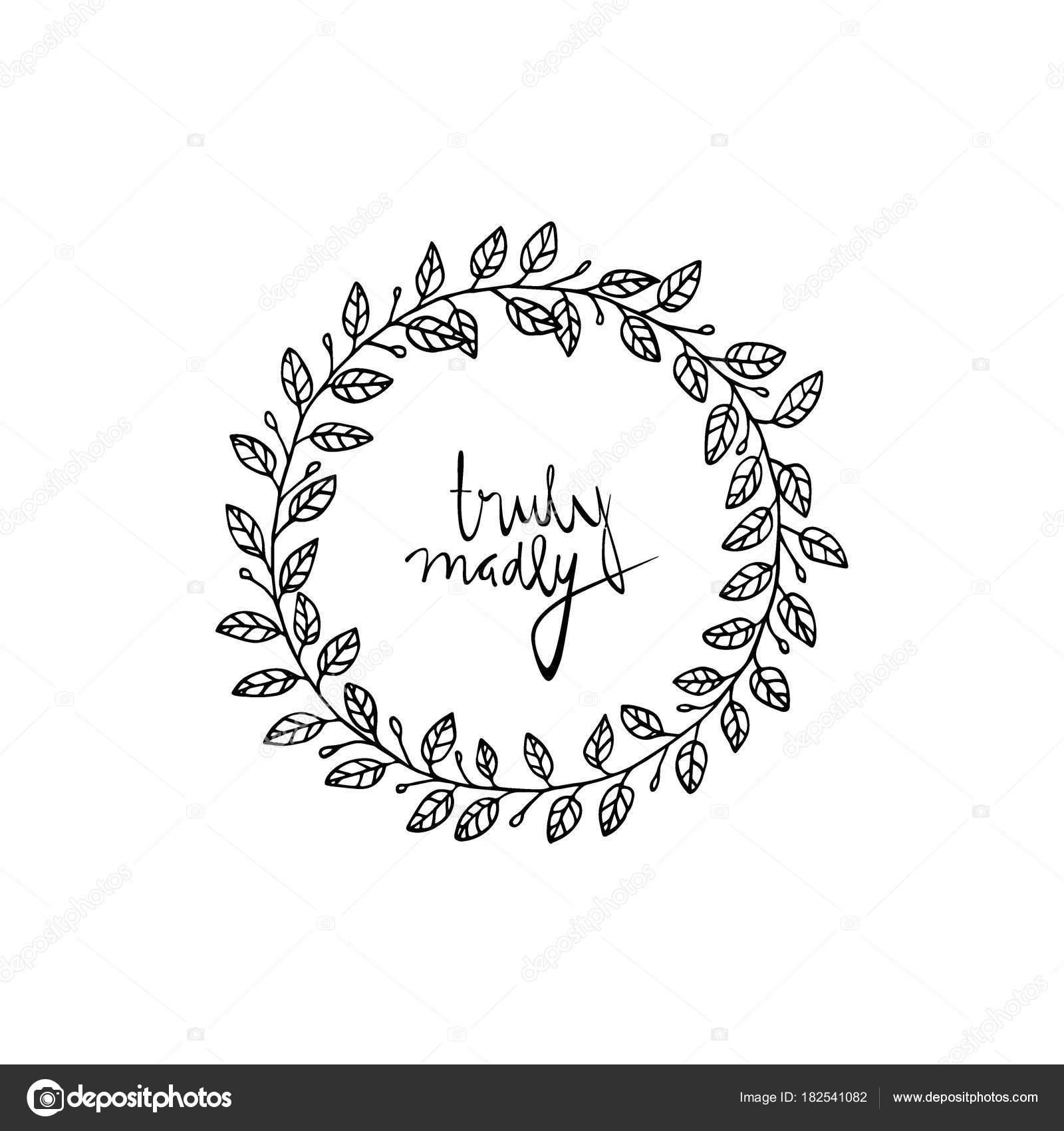 Hand gezeichnet Hochzeit Kranz  Stockvektor  Ezhevica