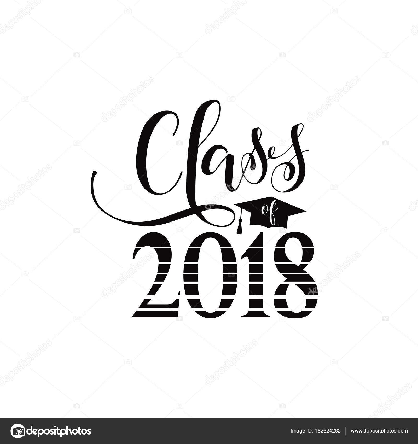 vector illustration of a graduating class in 2018