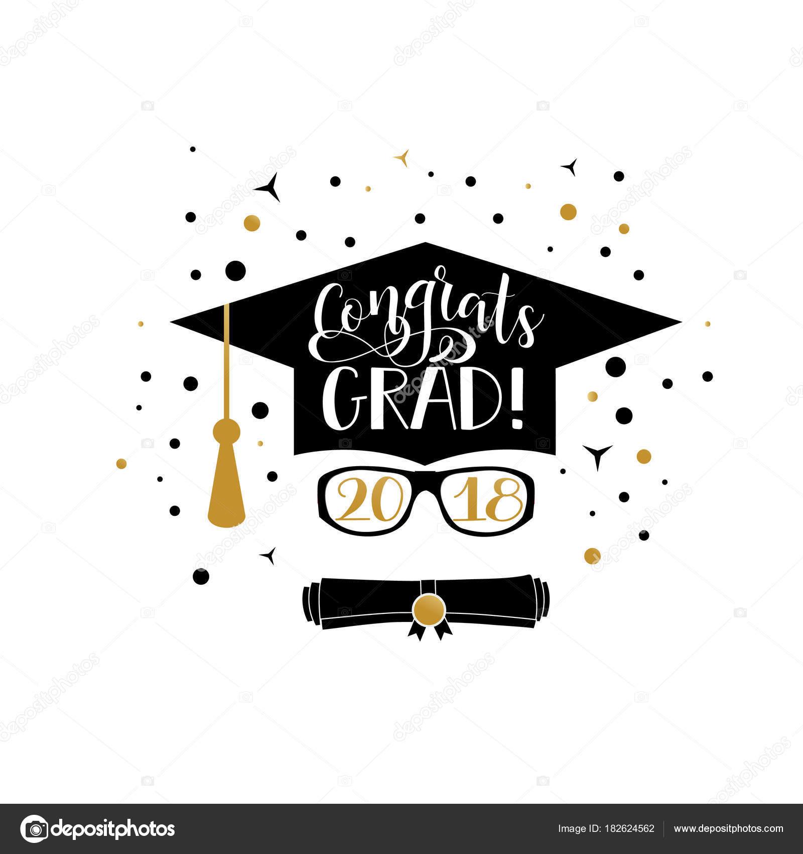 Congrats Grad 2018 belettering. Gefeliciteerd