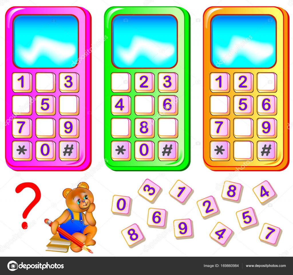 Worksheet For Young Children Help The Bear To Repair Mobile Phones Find The Missing Numbers