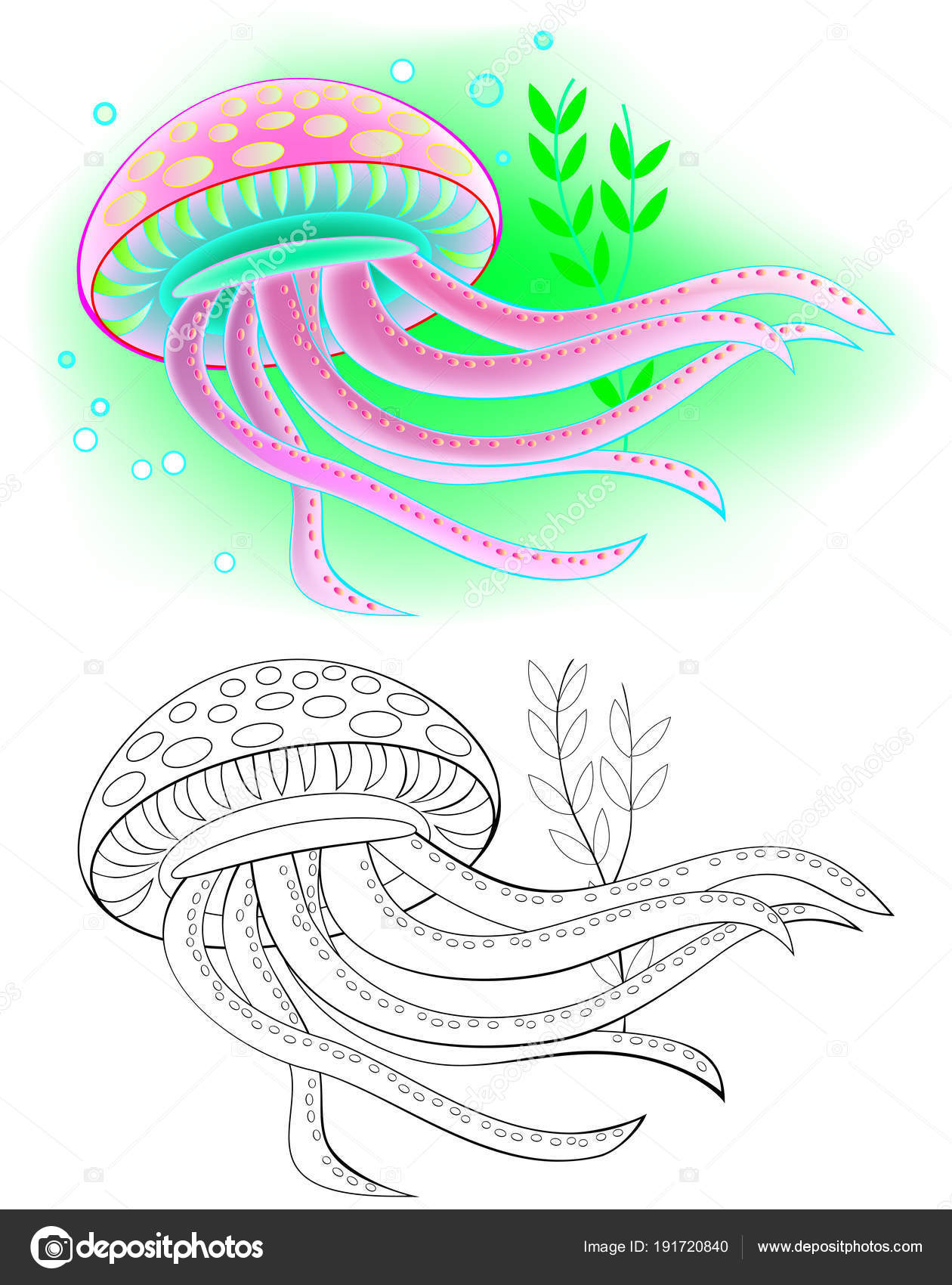 Colorful Black White Pattern Coloring Illustration