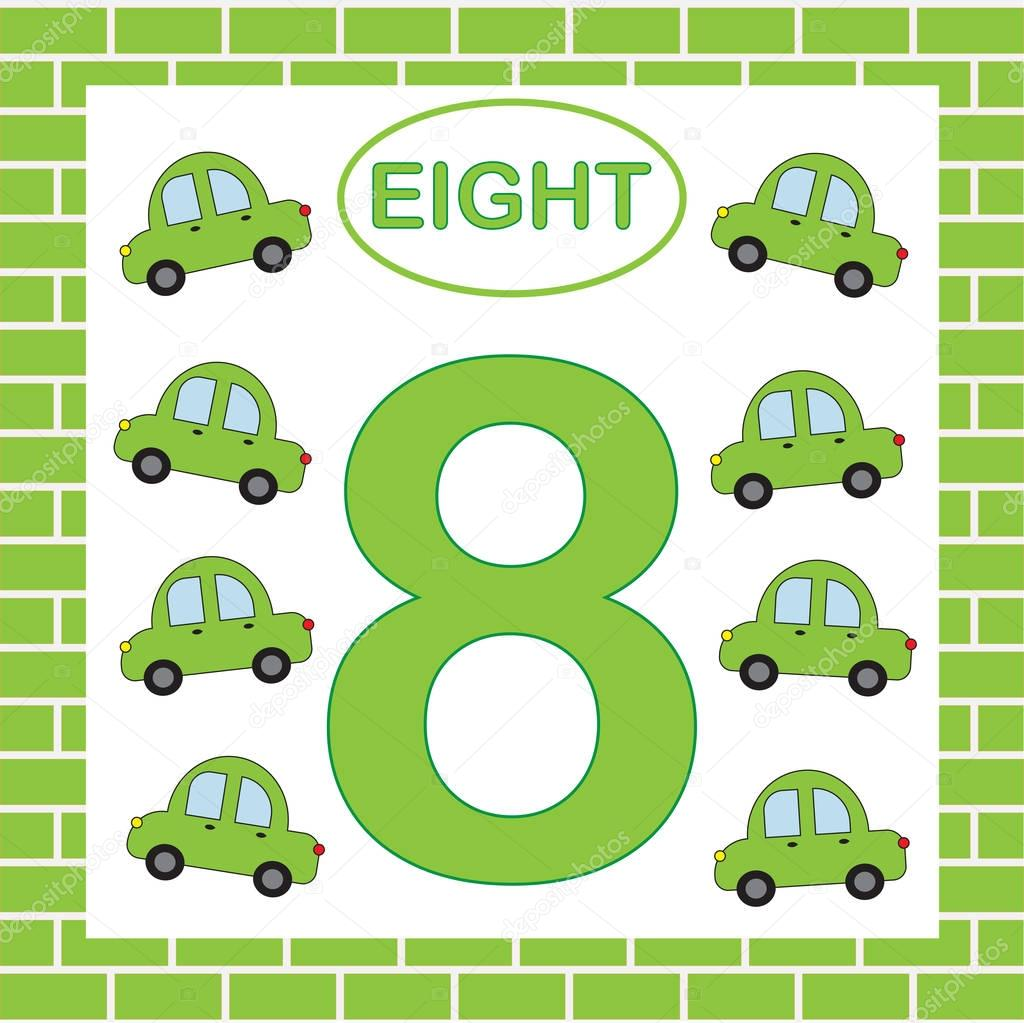 Educational Card Number 8 Eight With Cars Learning
