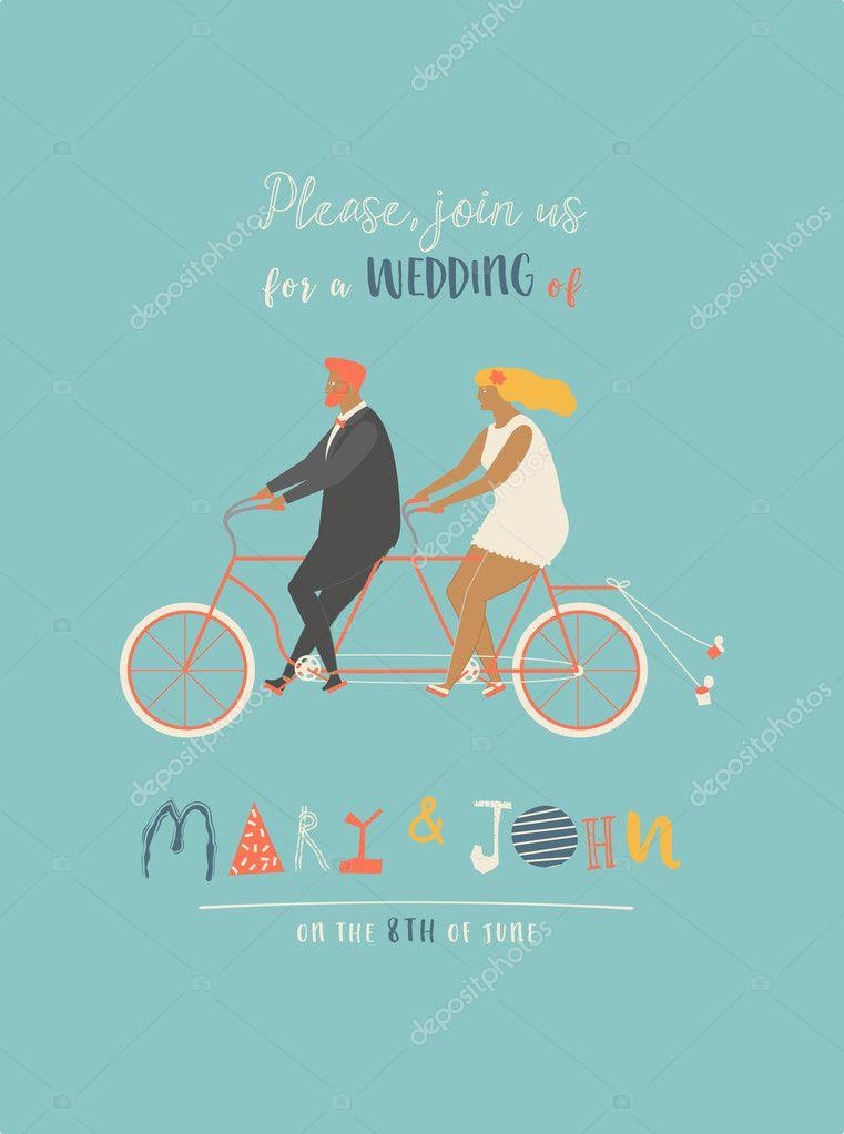 Hochzeitseinladung mit TandemFahrrad fahren Braut und