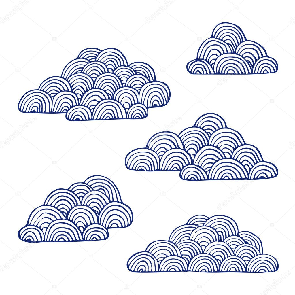 set of clouds isolated