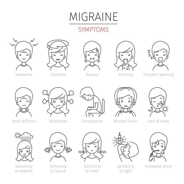 Migraine Symptoms Icons Set — Stock Vector © MatoomMi