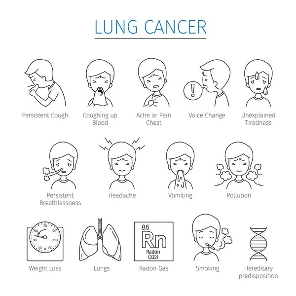 Lung cancer and little boy smoking — Stock Vector