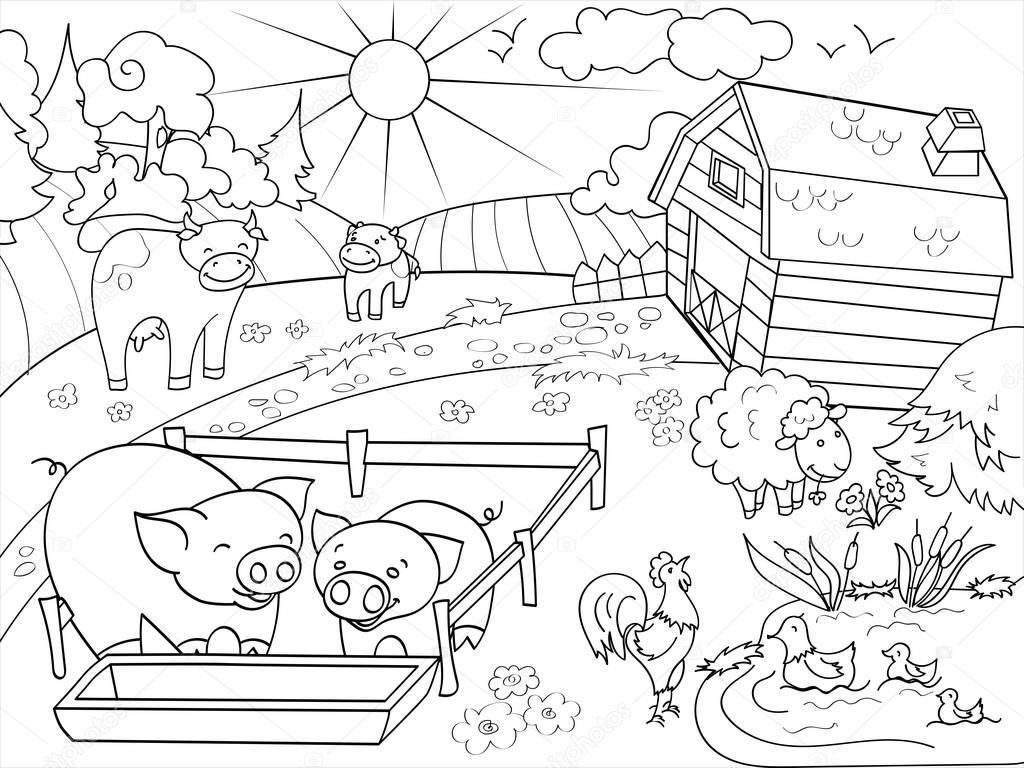 Animales de granja y el paisaje rural para colorear vector