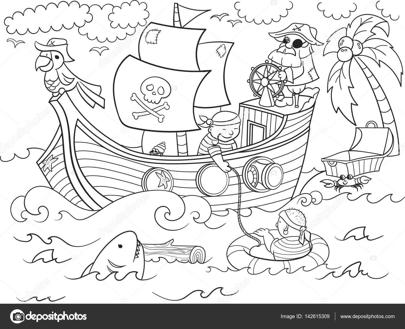 Kinderen Kleurplaten Rond Het Thema Piraten Vector