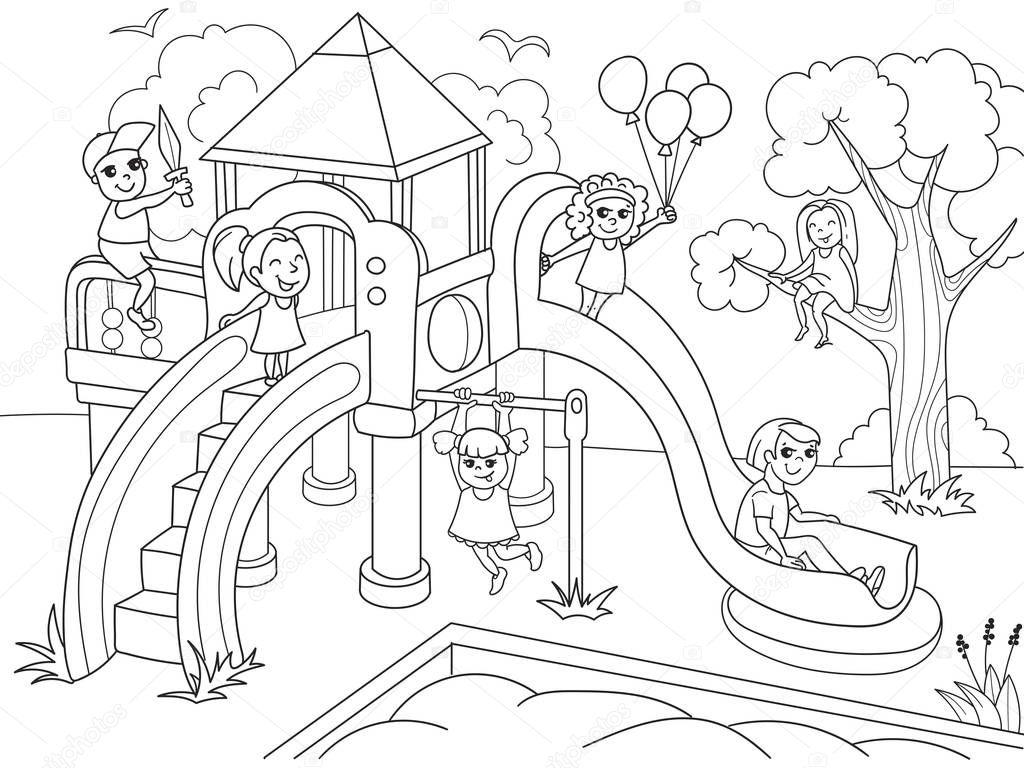 Coloriage d'aire de jeux pour enfants. Illustration