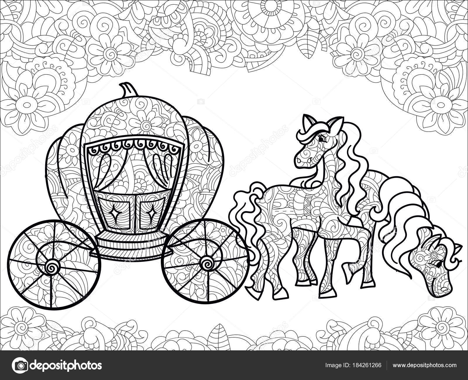Horse Carriage Coloring Worksheet