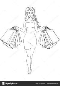 Chica con las compras. He comprado mucha ropa. Moda de ...