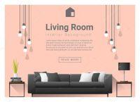 Modern living room Interior background , vector ...