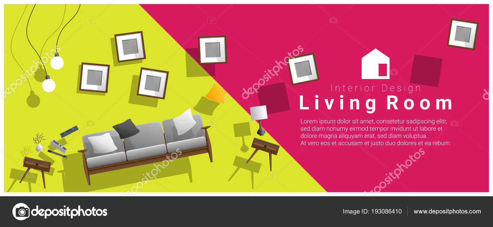 cheapest living room furniture best wallpapers horizontal interior banner sale hovering colorful background stock vector