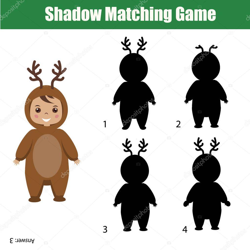 Schaduw Matching Game Kerstthema Kinderen Activiteit