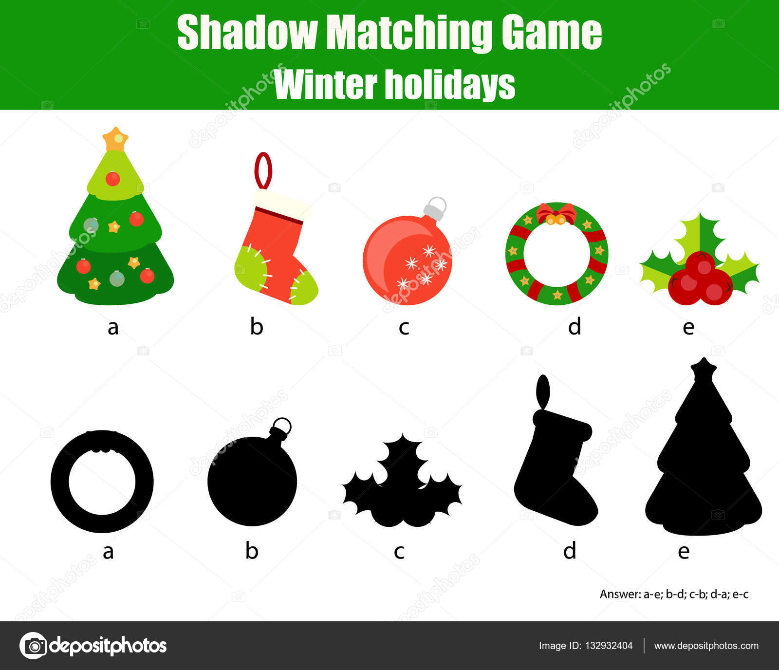 Shadow Matching Game Christmas Winter Holidays Theme