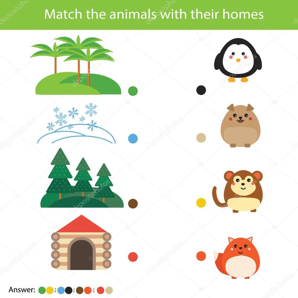 Jeu De L Education Des Enfants Correspondant Match Des Animaux Avec Leurs Maisons