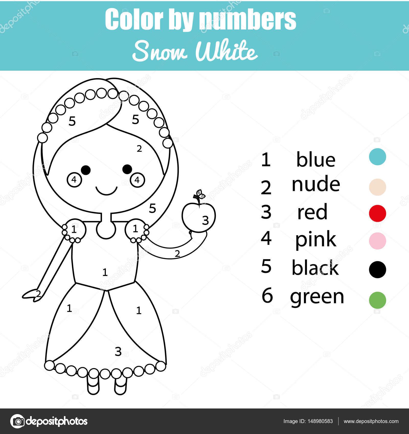 Kleurplaat Pagina Met Schattige Sneeuwwitje Sprookje