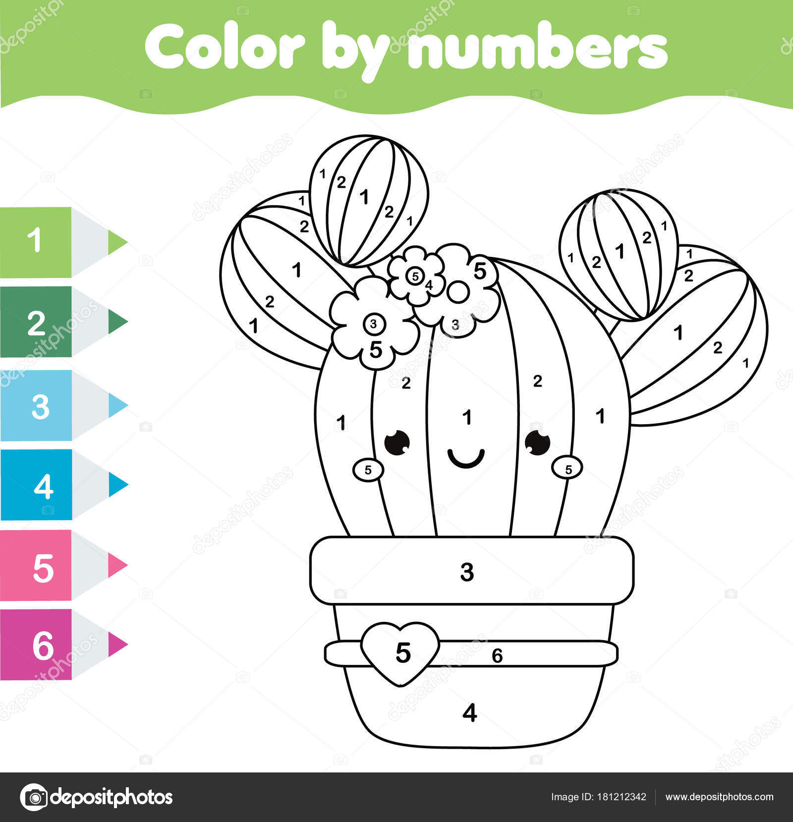 Children Educational Game Coloring Page Cute Cactus Color Numbers Printable
