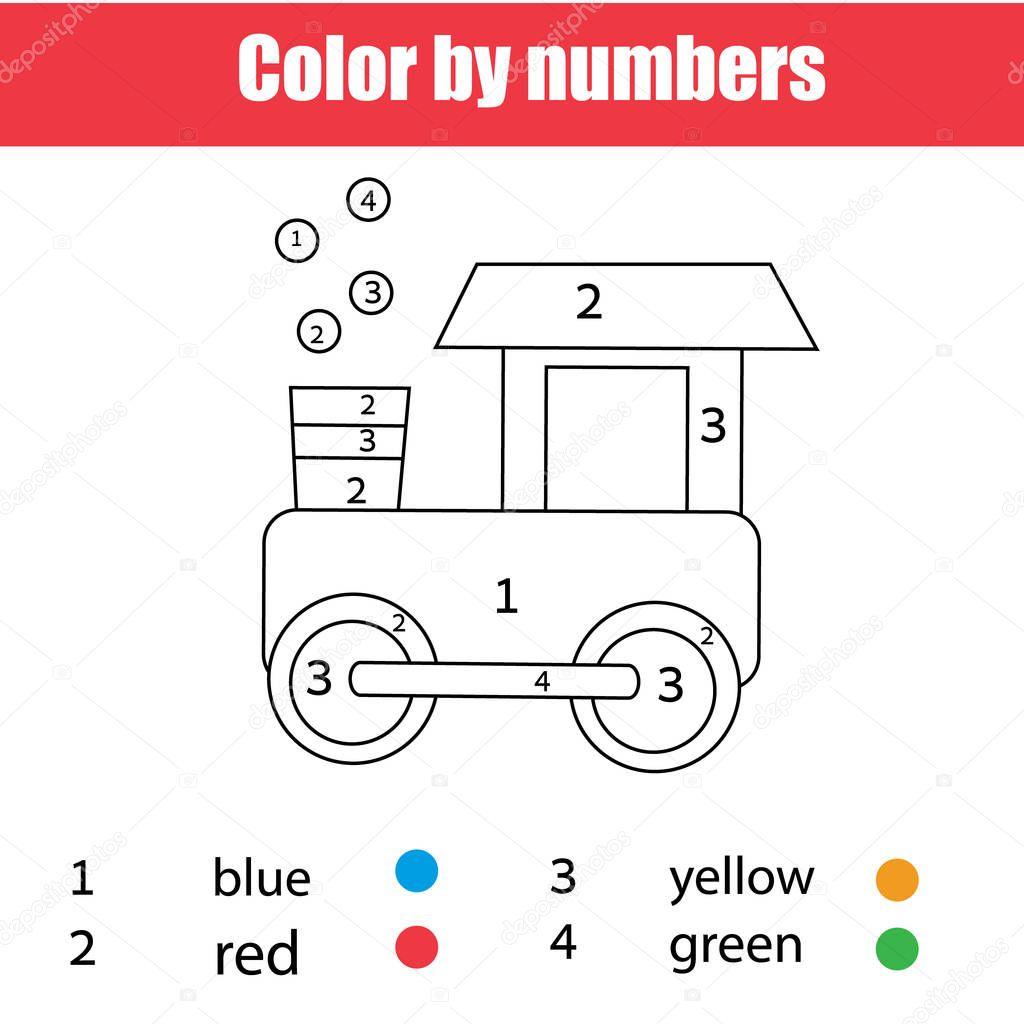 Pagina Para Colorir Com Trem Brinquedo Cor Por Numeros