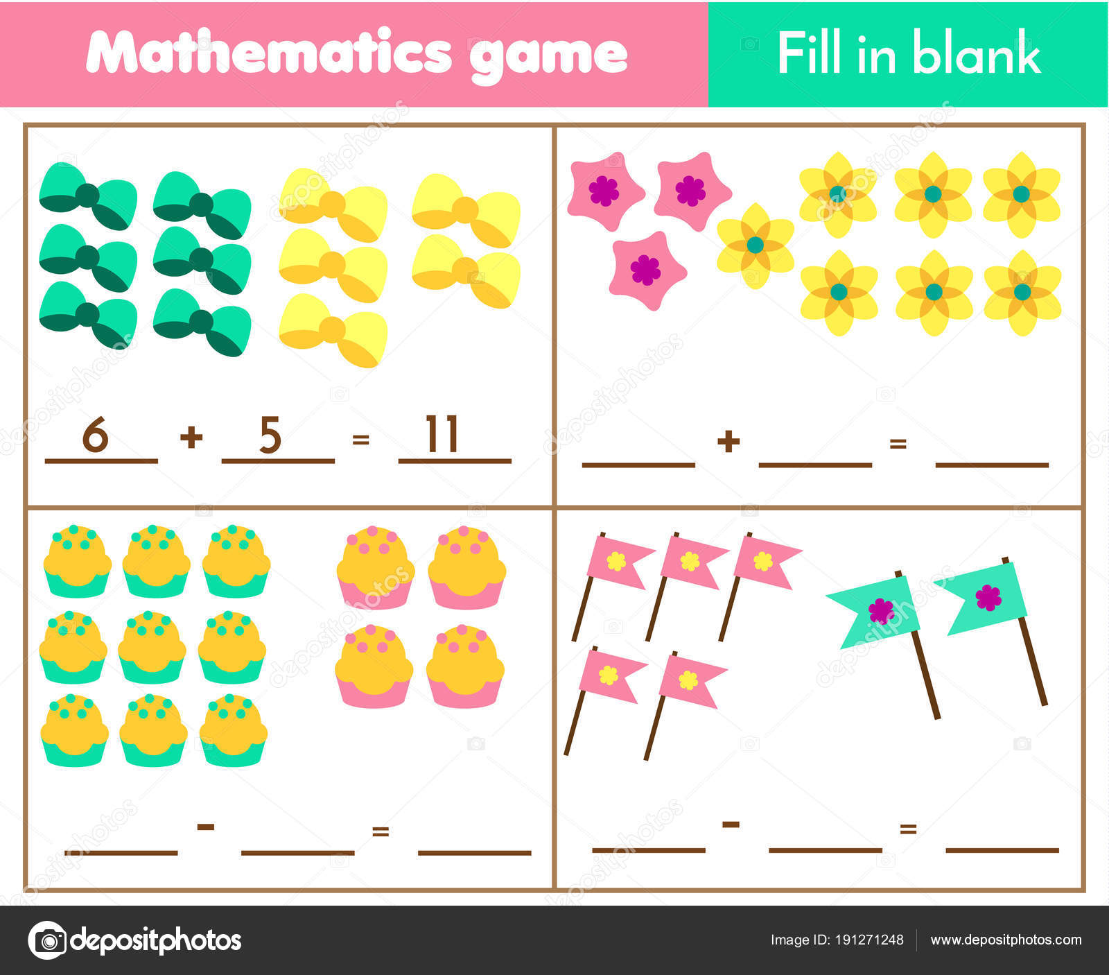 Counting Educational Children Game Mathematics Worksheet