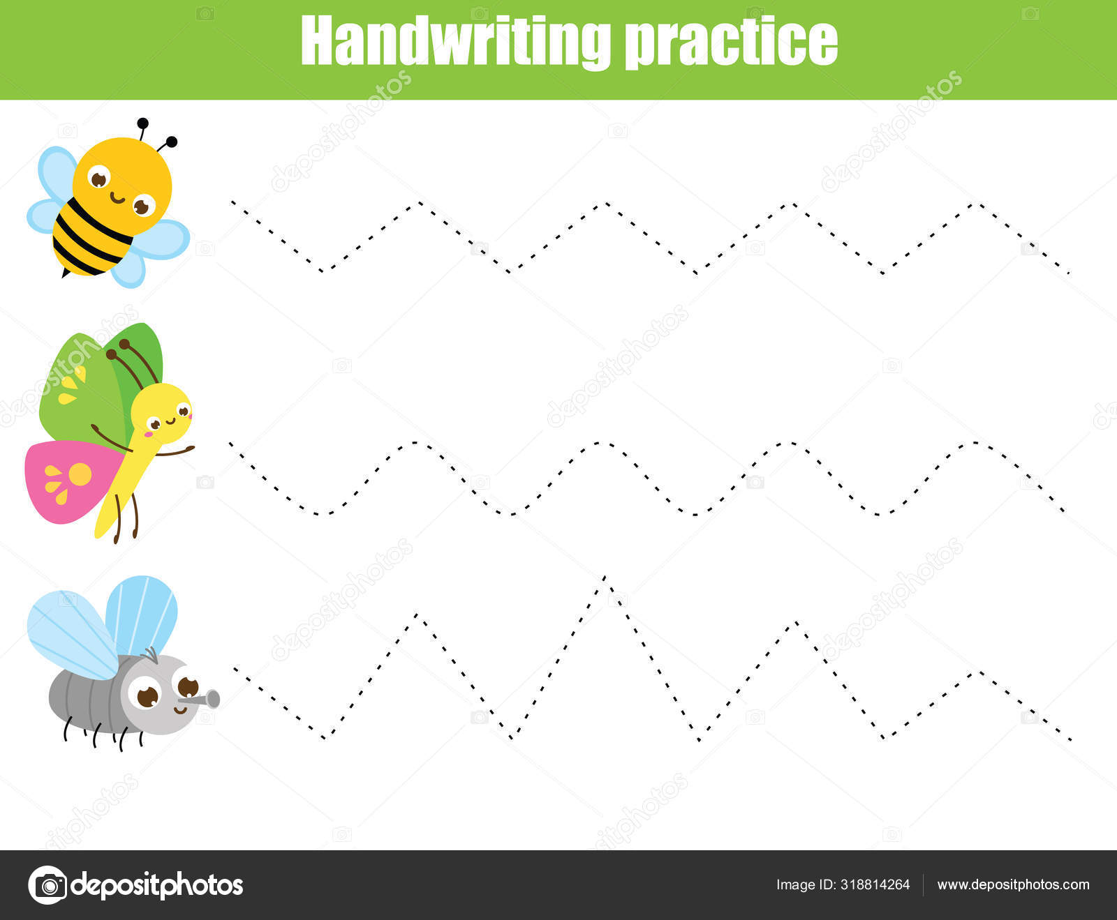 Handwriting Practice Sheet With Funny Insects Educational