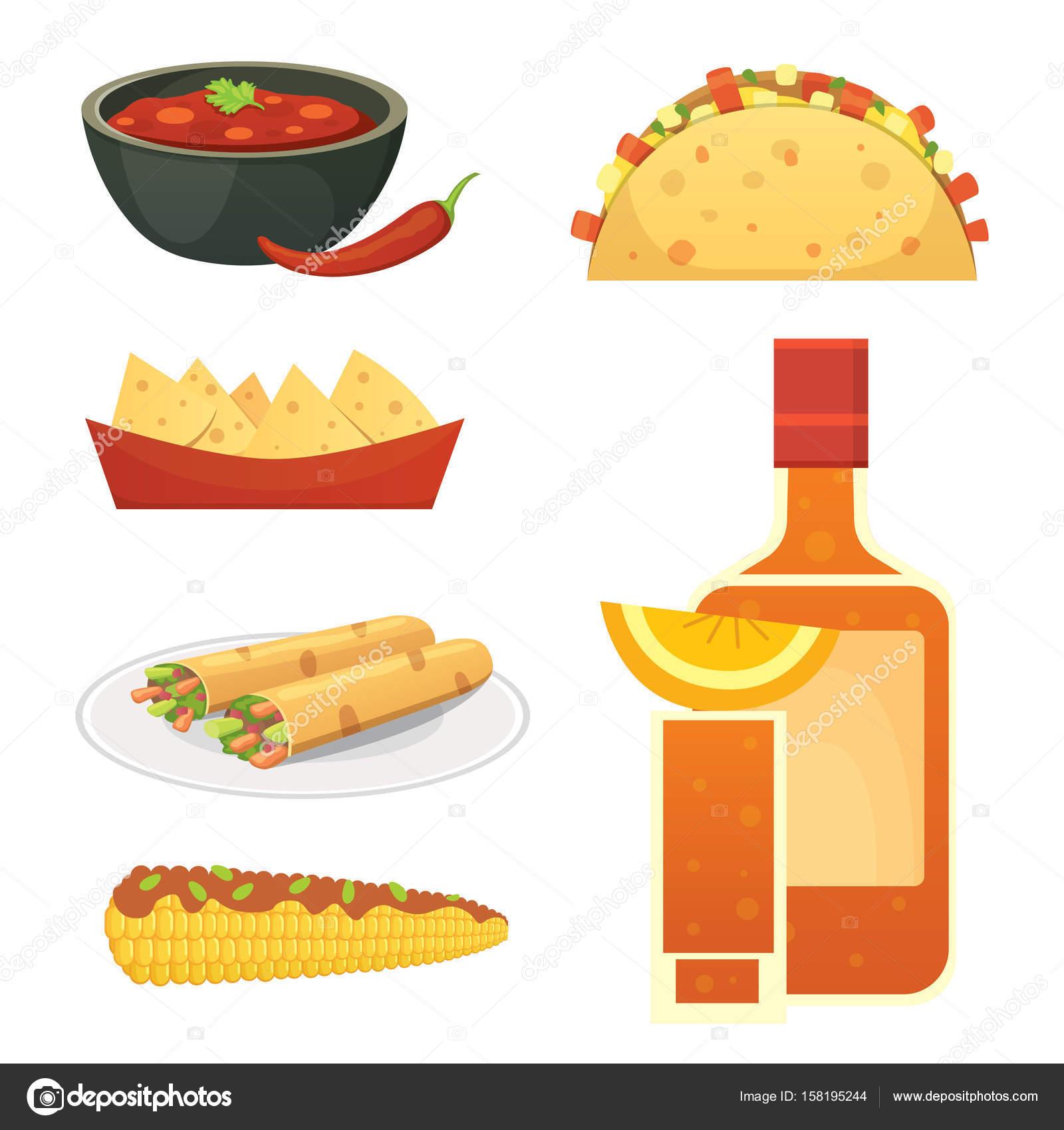 Cocina mexicana de dibujos animados platos ilustracin conjunto  Vector de stock  Denis08131mailru 158195244