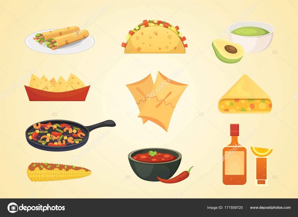 Comida tipica mexicana animada  Ilustracin de platos de la cocina mexicana de dibujos animados conjunto de vectores  Vector de stock
