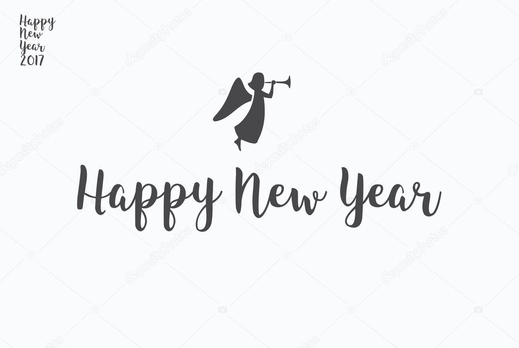 Happy New Year Lettering Typography Handwriting Text