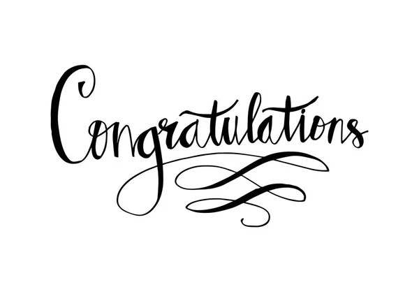 Congratulations Card Hand Lettering Calligraphy — Stock