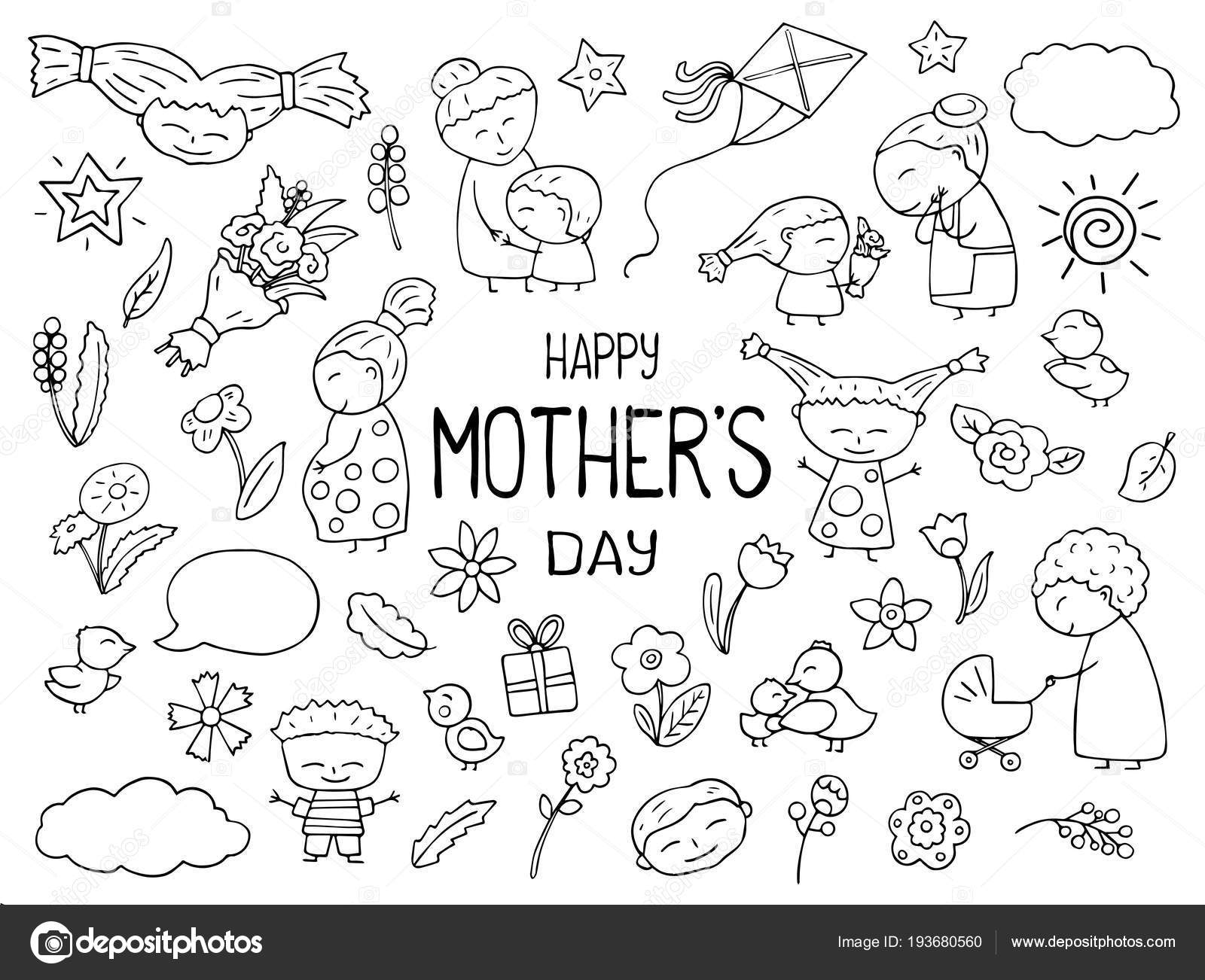 hight resolution of happy mother day black white vector clipart mom and child outlined icon childish doodles