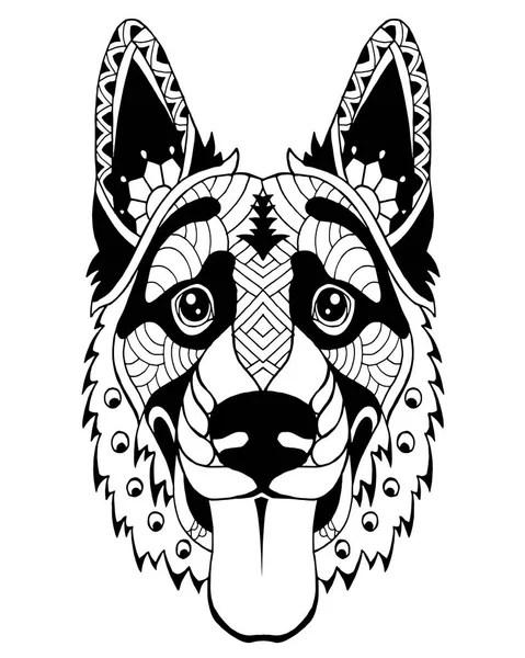 Duitse Herder Honden cartoon om in te kleuren