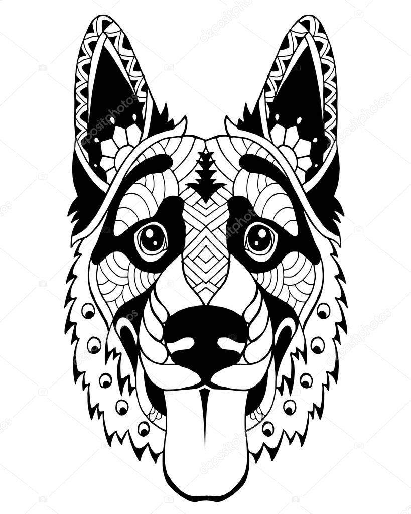 Pastore tedesco cane zentangle stilizzato. Illustrazione a