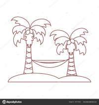 Ilustracin de vector lindo con palmeras y hamacas. Viajes ...