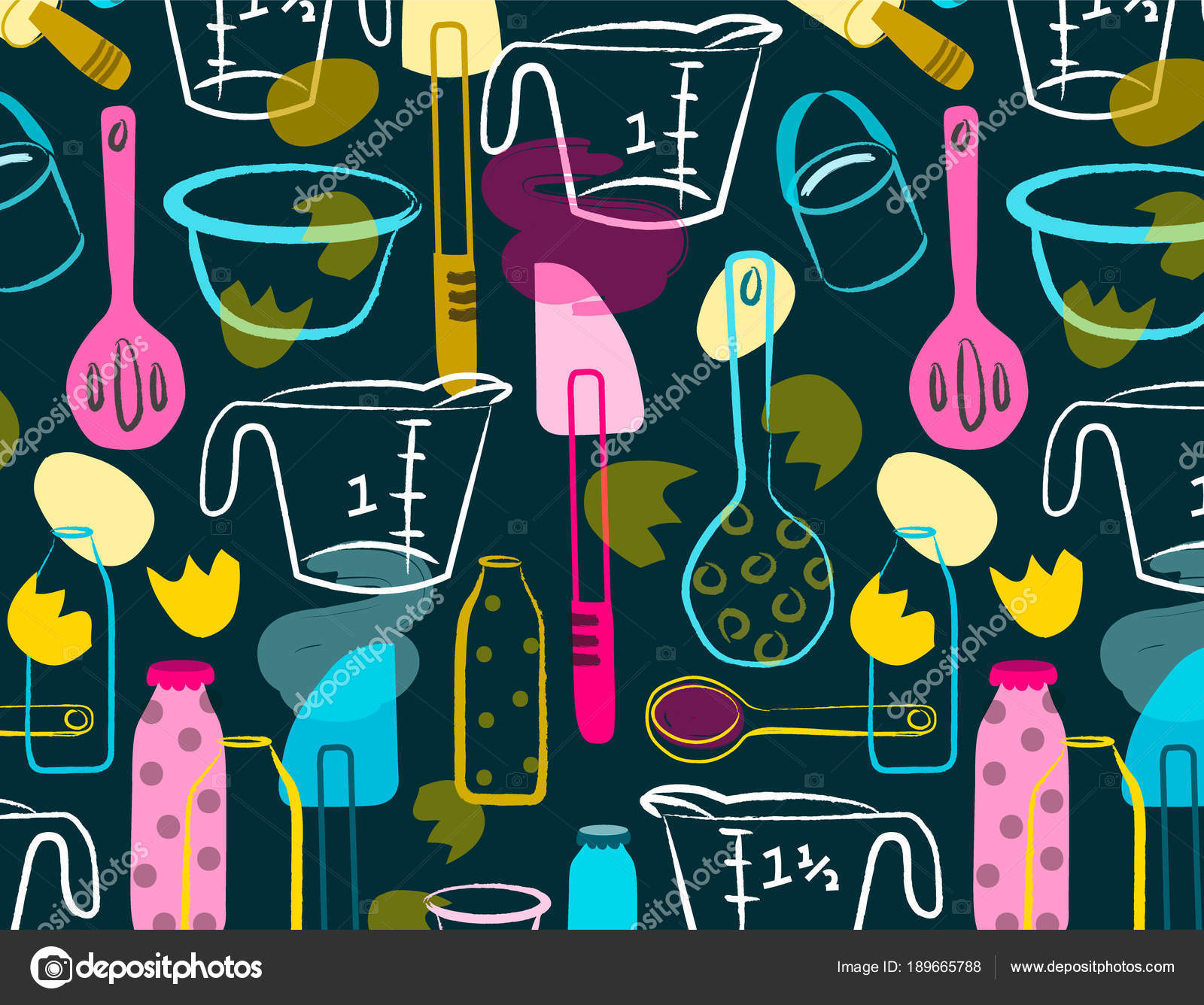 colorful kitchen accessories island base only crazy baker seamless pattern stock vector