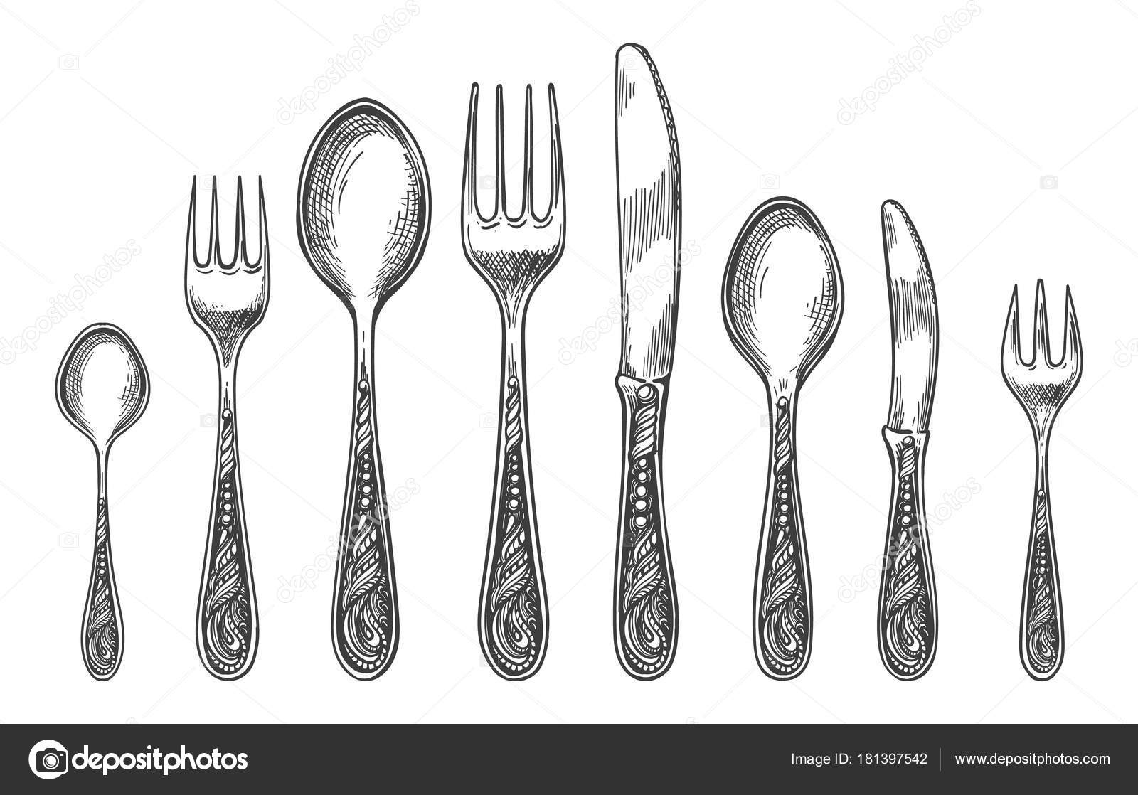 Sketch Spoon Fork And Knife
