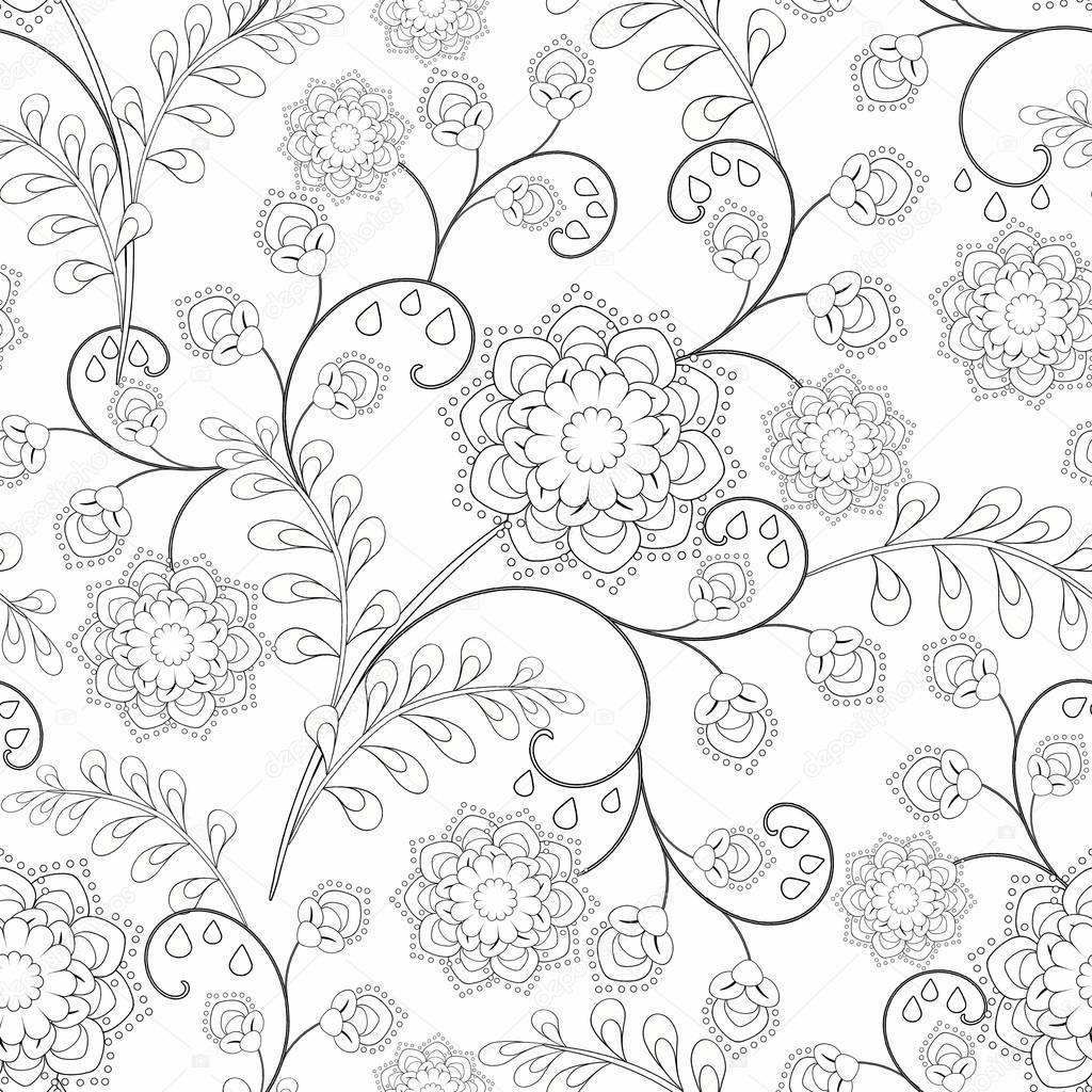 seamless Monochrome Floral Pattern. Coloring. black and