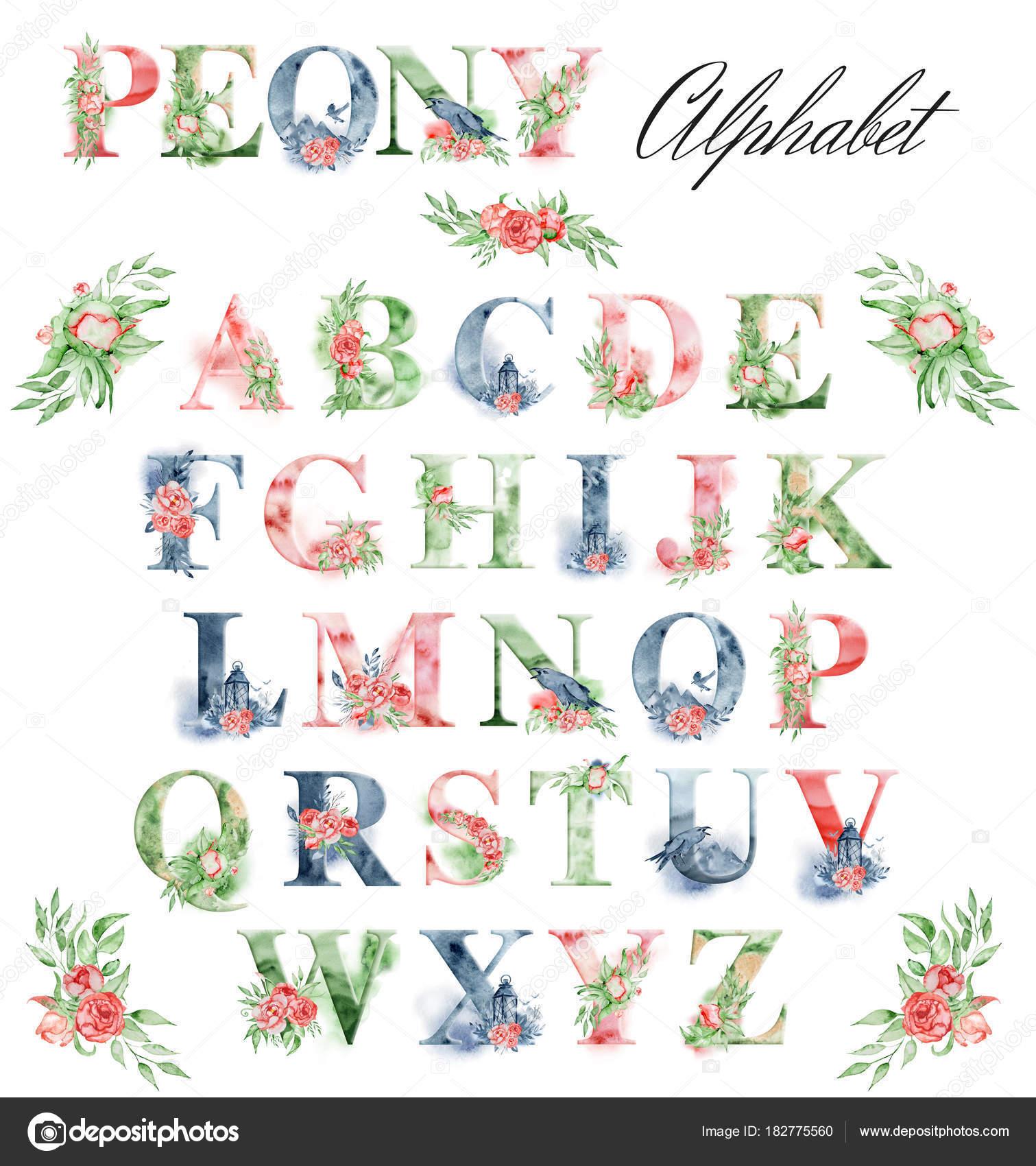 Aquarell Alphabet mit Pfingstrosen Blumen und Leves