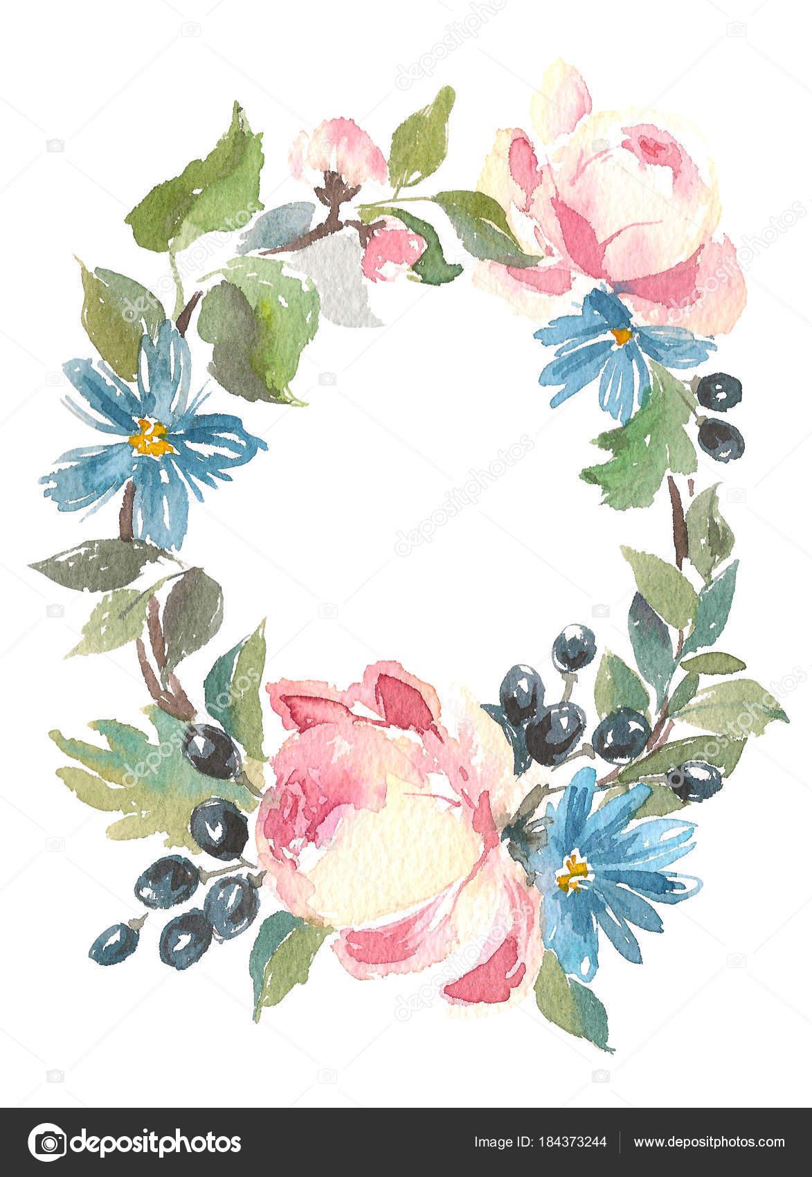 Herzlichen Glckwunsch Karte Aquarell mit Rosen