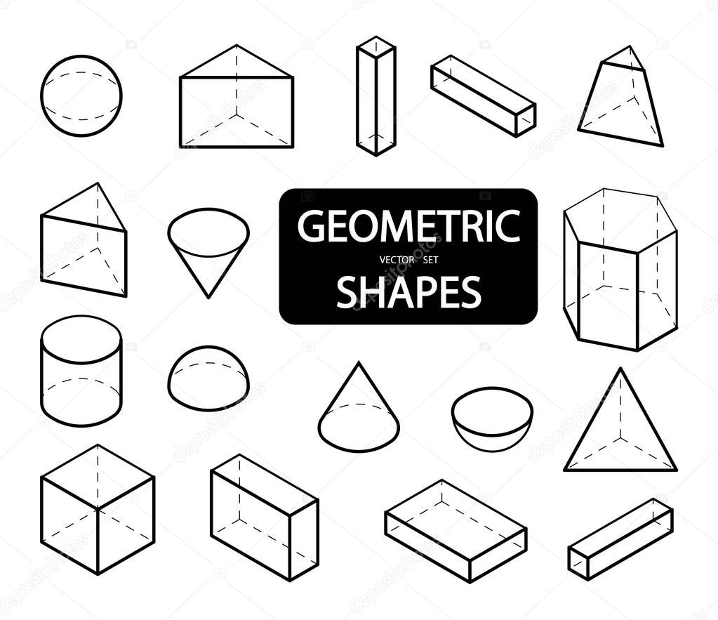 Set of 3D geometric shapes. Isometric views. The science