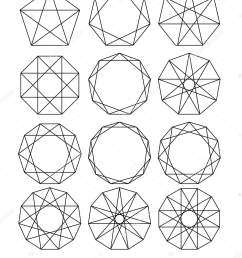 sacred geometry lines crossing the polygon inscribed in a circle white lines on a black background outline mandala frames crystal form  [ 1365 x 1700 Pixel ]