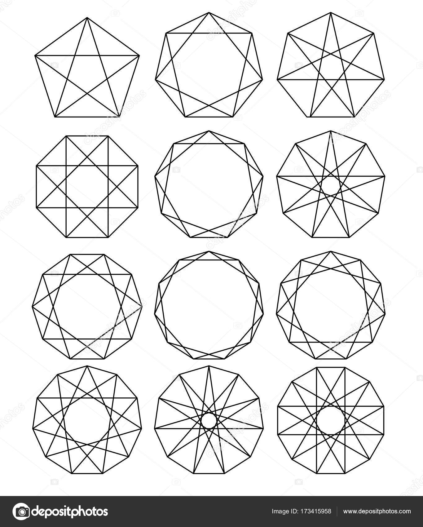 hight resolution of sacred geometry lines crossing the polygon inscribed in a circle white lines on a black background outline mandala frames crystal form