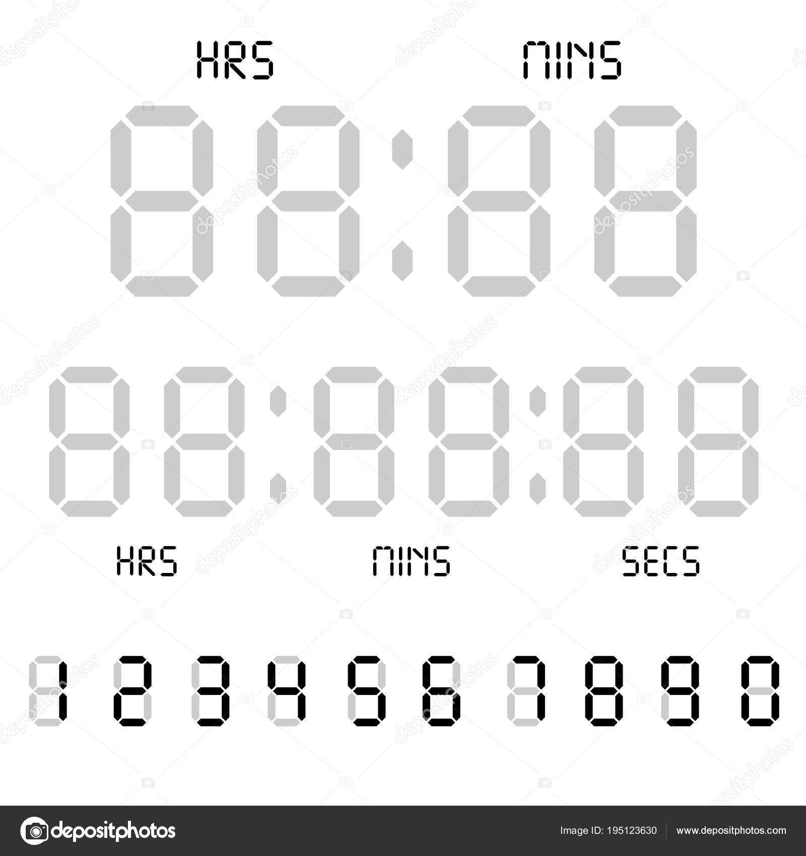 Digital clock. Calculator digital numbers. Alarm clock