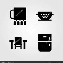Kitchen Filter Ikea Modern Cabinets 厨房矢量图标集 桌 过滤器 罐子和冰箱 图库矢量图像 C Salamzadeh 图库矢量