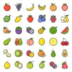 banana orange peach cartoon strawberry filled outline fruit icon cute illustration raspberry pineapple lemon grapes watermelon pear apples kiwi coconut