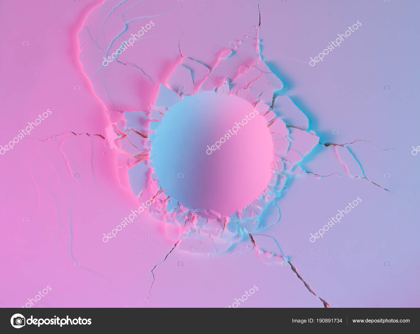 hight resolution of powder texture impact crater neon pink purple violet color lights stock photo