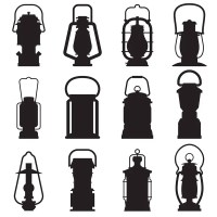Vector silhouette of vintage arabic lanterns and lamps ...